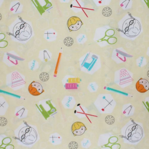 Fabric Remnant-Sewing School Kids 59cm