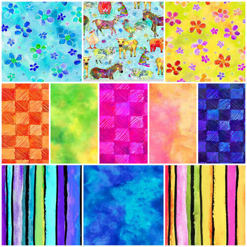 Living Farm Rainbow Animals Fat Quarter Bundle
